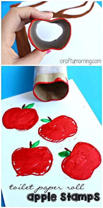 Toilet paper roll apple stamps #Fall craft for kids #Appletree | CraftyMorning.com