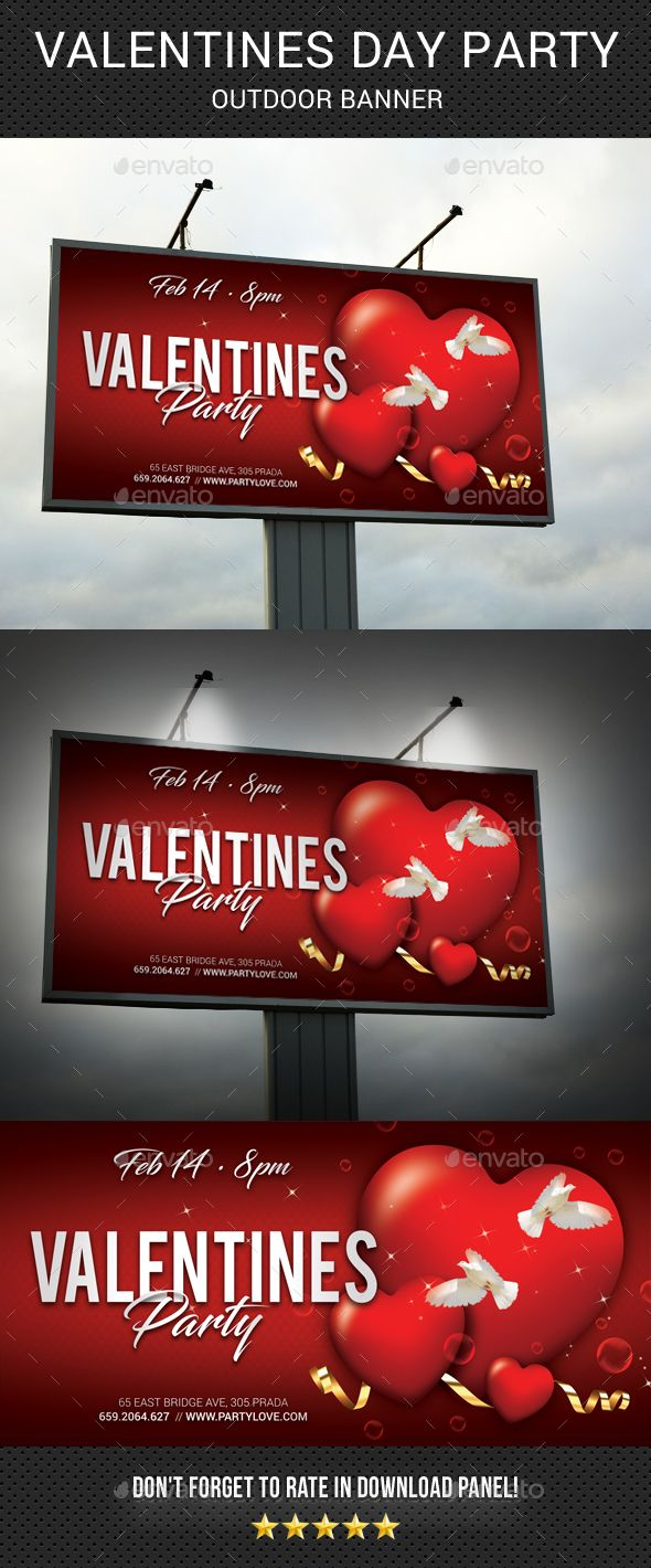 Valentines Day Outdoor Banner template, very easily customize to make it your own in seconds! Pack included: PSD file Print Size: 122x62 inches Final size: 120x60 inches Bleed 1 inch (all side) High Quality and Details CMYK, 150 dpi Print Ready Smart object placeholder Preview Images NOT included Readme file (help file)  Fonts