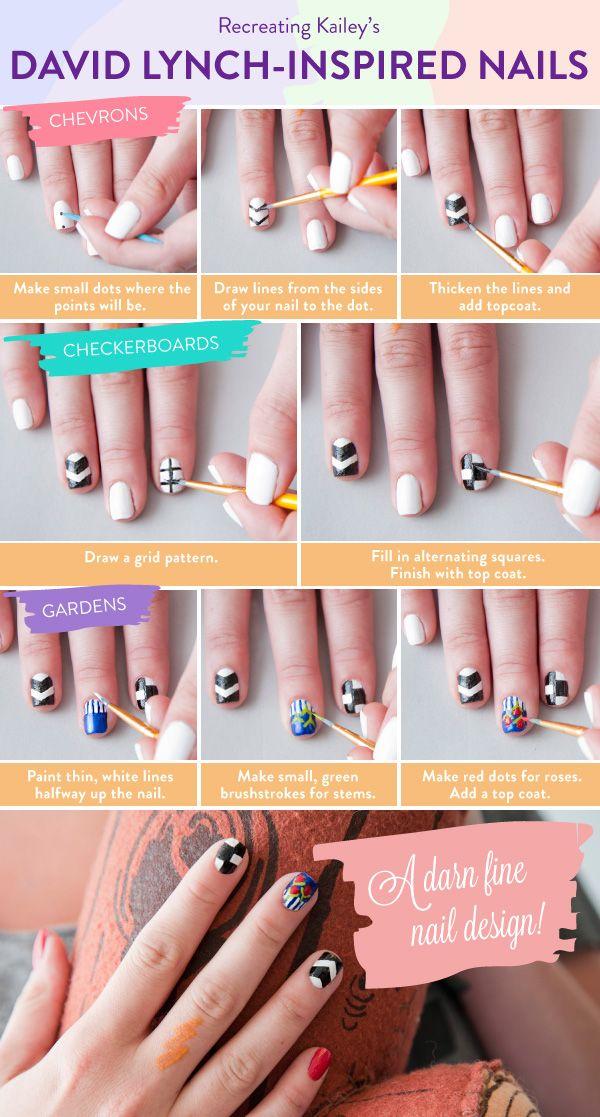My David Lynch inspired nail design is now on ModCloth's blog!: Lynch Inspiration Nails, Nails Art Tutorials, Nails Design, Beautiful Nailart, David Nails, David Lynch Inspiration, Diy Nails, Chevron Nails, Nails Tutorials