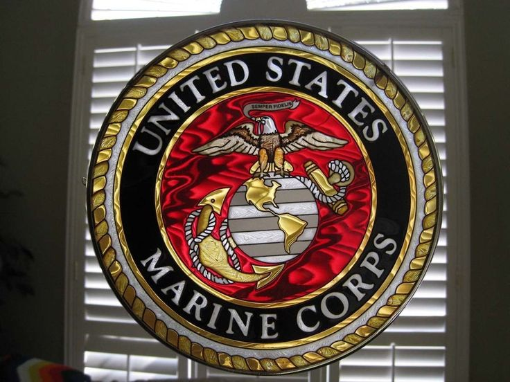 Amia Stained Glass Us Marine Corp Ship 6 5 Window
