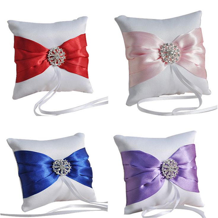 Multicolor Bow Diamond Bridal Ring Pillow Western-style Wedding Supplies Wholesale Holiday Gifts Accessories 10X10CM C6 #Affiliate