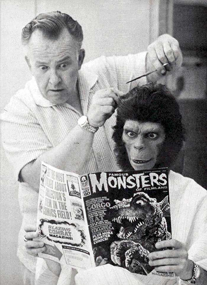 Makeup artist John Chambers and Roddy McDowall on the set of Planet of the Apes.