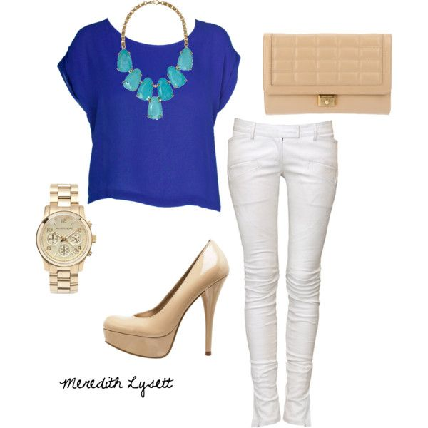 Polyvore: White Skinny, Colors Combos, Fashion Ideas, Cobalt Blue, Summer Outfits, White Pants, Royals Blue, White Jeans, Spring Outfits