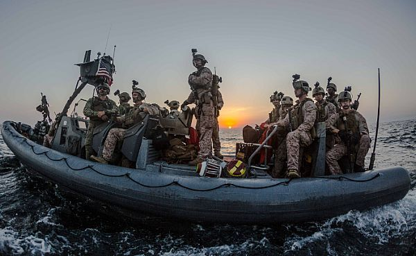 U.S. Marines assigned to the 2nd Platoon, Maritime Raid Force, 11th Marine Expeditionary Unit (11th MEU), position their rigid-hull inflatable boat to conduct a visit, board, search and seizure (VBSS) mission as part of Exercise Alligator Dagger, Dec. 17, 2016. The unilateral exercise provides an opportunity for the Makin Island Amphibious Ready Group and 11th MEU to train in amphibious operations within the U.S. 5th Fleet area of responsibility. The 11th MEU is currently supporting U.S…