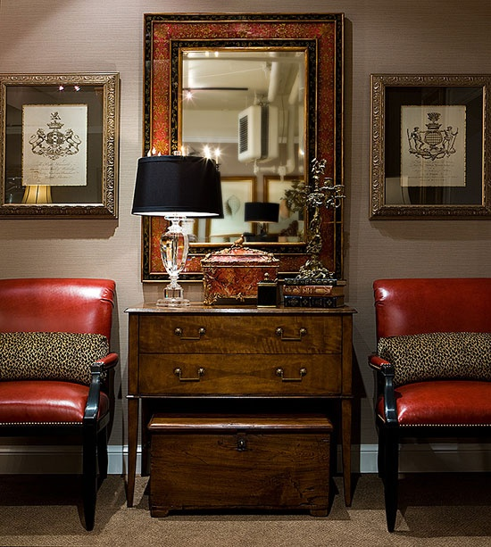 Captivating Red/animal Chairs, Both Chests, Mirror, Tablescape, And Especially The  Heraldic Prints.