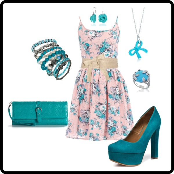 Turquoise Summer Dress Outfit. Wow that dress so pretty!