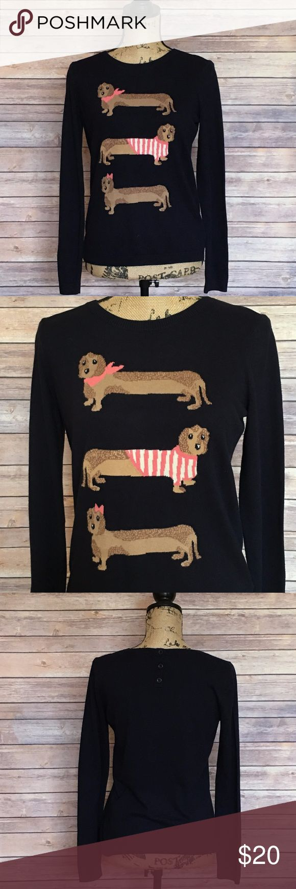Talbots Dachshund Sweater Size Medium Petite Talbots Navy Blue Sweater Dachshunds on the front Super Cute (Size Tag is cut out) No signs of wear or fading. Talbots Sweaters Crew & Scoop Necks