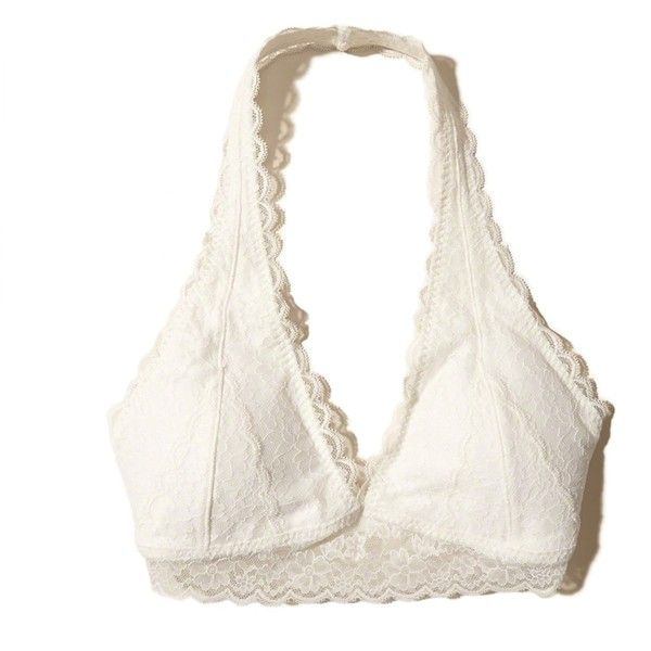 Hollister Removable-Pads Lace Halter Bralette ($17) ❤ liked on Polyvore featuring intimates, bras, white lace, lacy bras, lace bralette bra, halter-neck tops, lace halter bra and lace bra