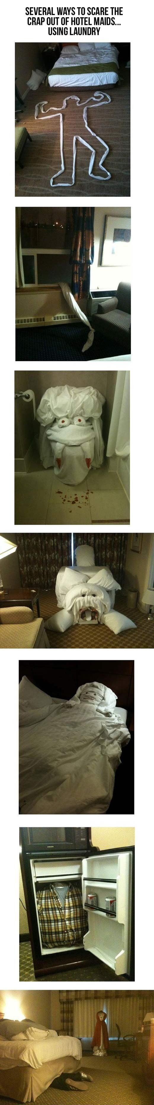 several ways to scare hotel maids.--- so awesome