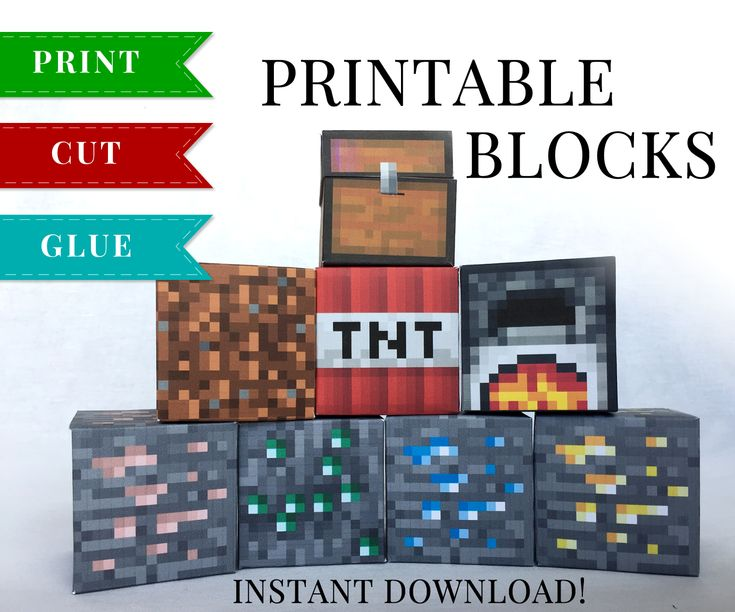 This set of Minecraft Printable Papercraft Blocks include Chest, Furnace, TNT Block, Dirt Block, Diamond Ore, Gold Ore, Emerald Ore and Iron Ore.
