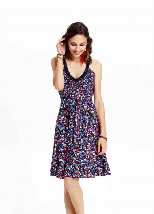 Lacivert Çiçekli Pepule Elbise - Fotoğraf