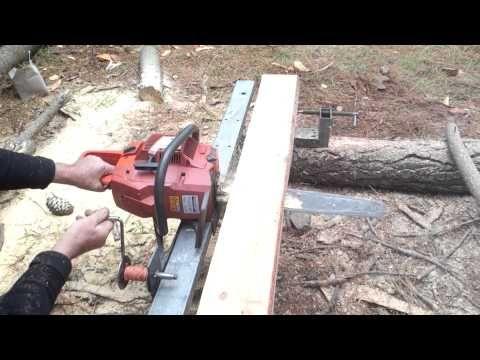 Aserradero portatil con motorsierra para hacer tablas - YouTube
