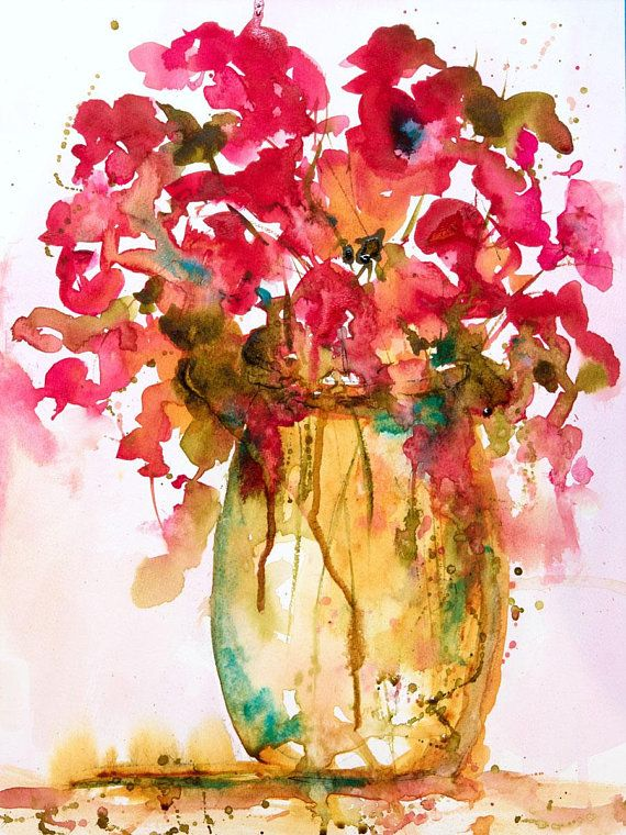 Expressive Floral Watercolor Still Life Painting Contemporary