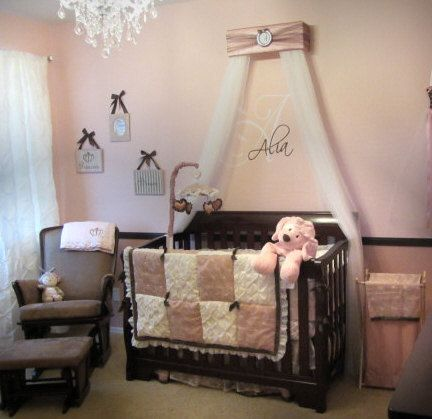 Crib Canopy Bed Crown Jojo Teesters Princess Mauve Pink Brown Silver Personalized Free Baby Nursery