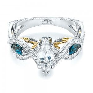 Custom Two-Tone London Blue Topaz and White Sapphire Engagement Ring