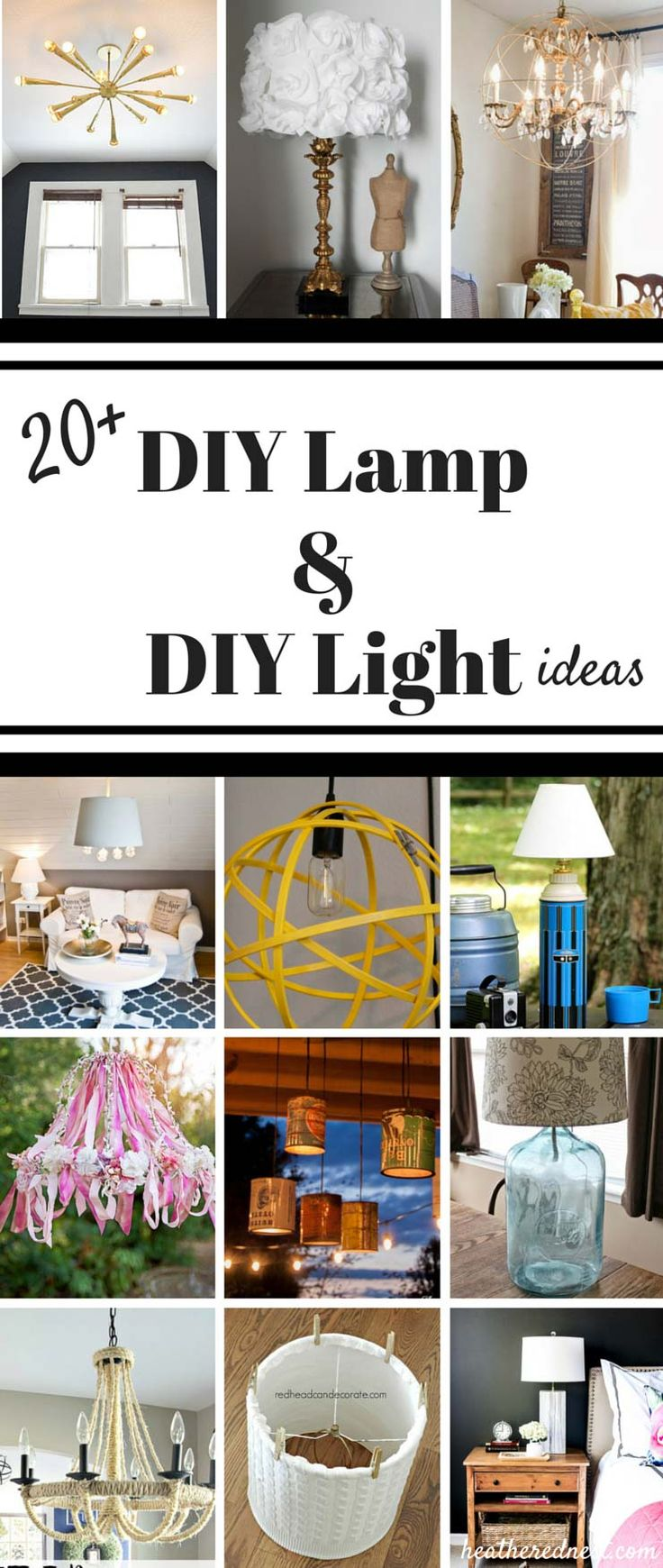 FANTASTIC Round up of 20+ popular DIY lamp, DIY light, and DIY lampshade projects and ideas from www.heatherednest.com