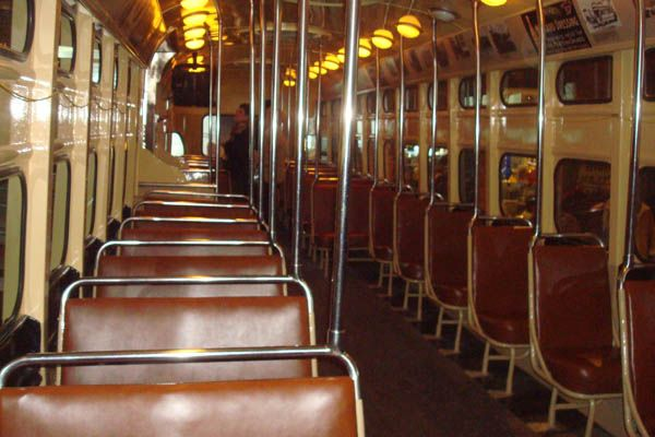 The interior of an old trolley car on display at the Heinz History Museum in Pittsburgh, Pennsylvania