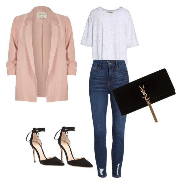 """""""Sans titre #108"""" by miachic on Polyvore featuring mode, Yeezy by Kanye West, Good American, Gianvito Rossi, River Island et Yves Saint Laurent"""