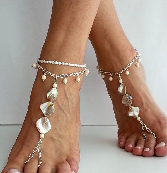 Bridal barefoot sandals SHELL beads Wedding sandals boho by FiArt