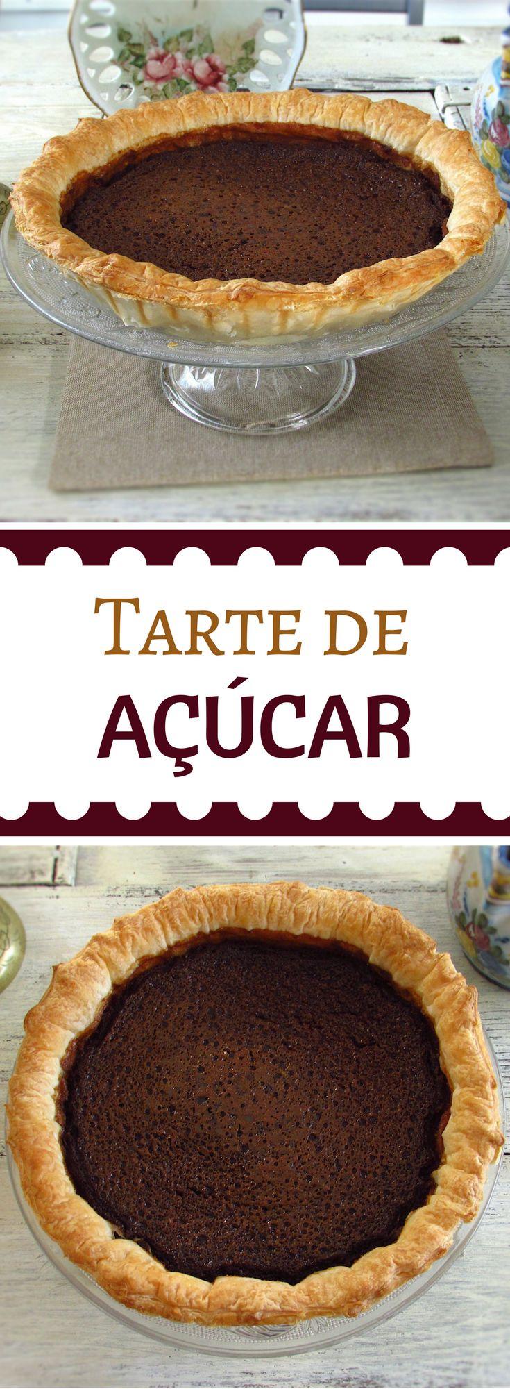 Tarte de açúcar| Food From Portugal. Uma sobremesa ideal para um jantar de Inverno, com o sabor especial do açúcar mascavado. Adicione uma bola de gelado de baunilha… é de deixar água na boca… #receita #tarte #açúcar