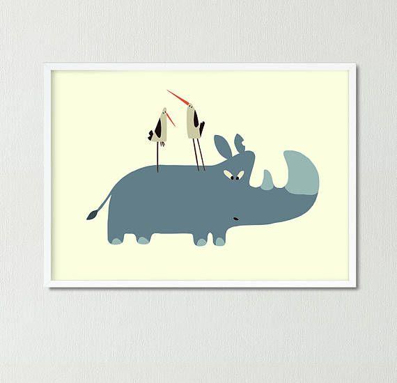 Rhinoceros Storcs Nursery poster Animal print Child