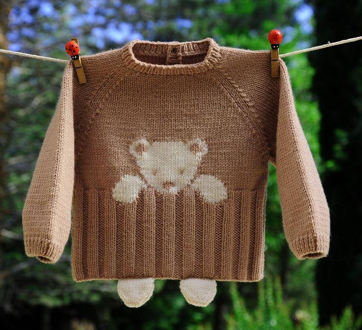 Layette brassière ourson en mérinos 3 mois neuf tricoté main