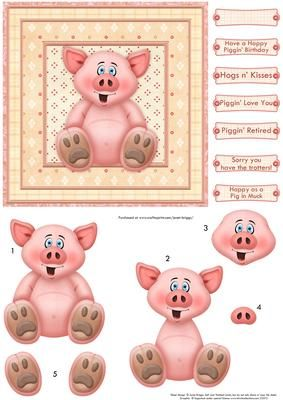 HAPPY PIGGIN BIRTHDAY Card Topper Decoupage on Craftsuprint designed by Janet Briggs - Humorous card topper suitable for a variety of occasions, including birthday, get well soon, retirement. Valentine's Day or Anniversary.Features a cute pig.Several sentiment tags, including one blank.