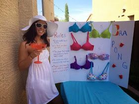 Bra pong! Perfect for a bridal shower or bachelorette party. Or in our case....a showerette!  Full rules and instructions at this site