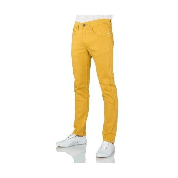 Yellow Skinny Jeans (£17) ❤ liked on Polyvore featuring jeans, skinny fit denim jeans, yellow skinny jeans, skinny jeans, cut skinny jeans and yellow jeans