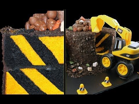 DIGGER CAKE! Diagonal Stripe Surprise Inside Construction Cake Tutorial by Cupcake Addiction - YouTube