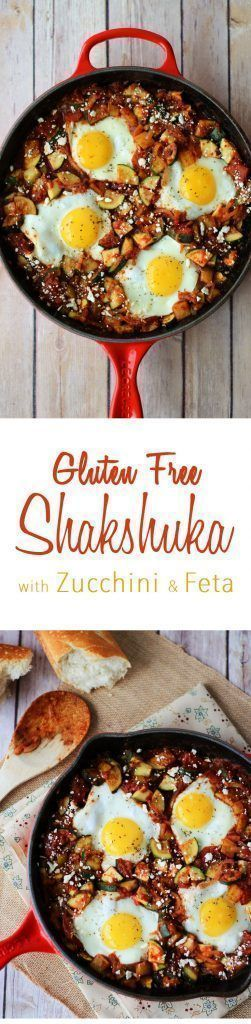 This easy one-pot gluten free Shakshuka recipe with zucchini and feta is super healthy, low in fat and vegetarian.