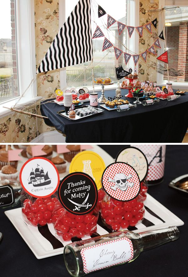 {Yo Ho Ho!} Pirate Party // Hostess with the Mostess®  Pirate party birthday ideas and inspiration-- invitations, decorations, cake, cupcakes, dessert table, candy buffet, printables, favors