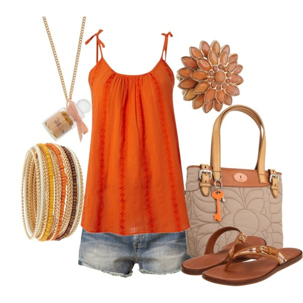 orange summer outfit: Tanks Tops Patterns, Orange Polyvore, Summer Fashion, Orange Summer, Summer Wear, Summer Outfits, Summer Colors, Orange Tops, Summer Tops