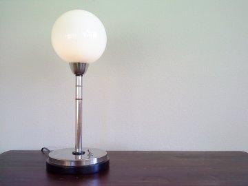 Elmar Berkovich table lamp   (for Metz  Amsterdam).   Metal, wood, coloured bakelite & glas