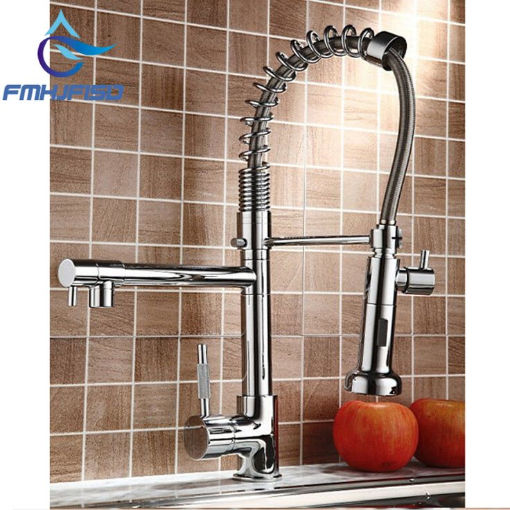 Hot Sale NEW Pull Our Spring Kitchen Faucet Chrome Brass Vessel Sink Mixer Tap Dual Sprayer Swivel Spout Hot And Cold Mixer Tap #Affiliate