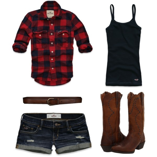 Country Summer Cute with a denim skirt. I  don't know if I could do the boots but cute.