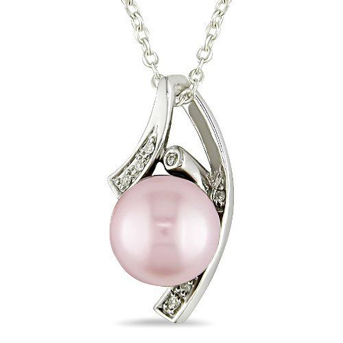 9-9.5 mm Pink Freshwater Pearl and Diamond Accent Pendant in Silver, I3 Amour. $43.99