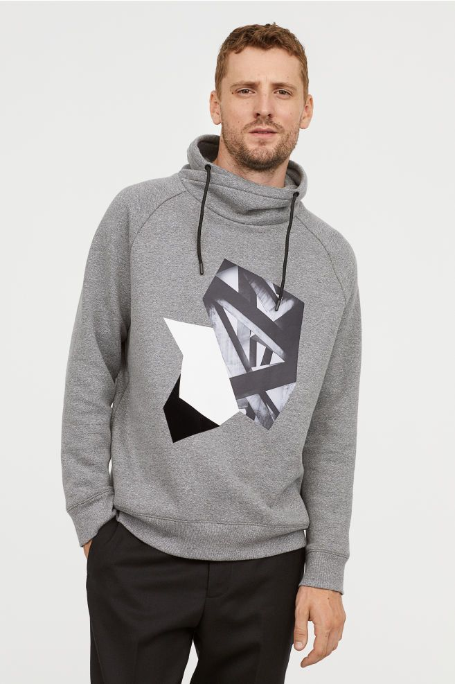 ccf7f11eb29 Chimney-collar Sweatshirt - Dark gray melange/motif - Men | H&M US 1
