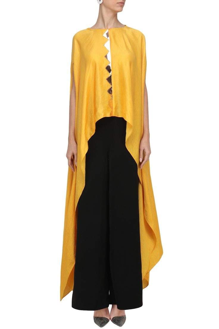 ROSHNI CHOPRA Yellow Zig Zag Embroiderd Kaftan Top. Shop Now! #roshnichopra #contemporary #yellow #zigzag #embroidered #kaftan #indianfashion #indiandesigners #perniaspopupshop #happyshopping