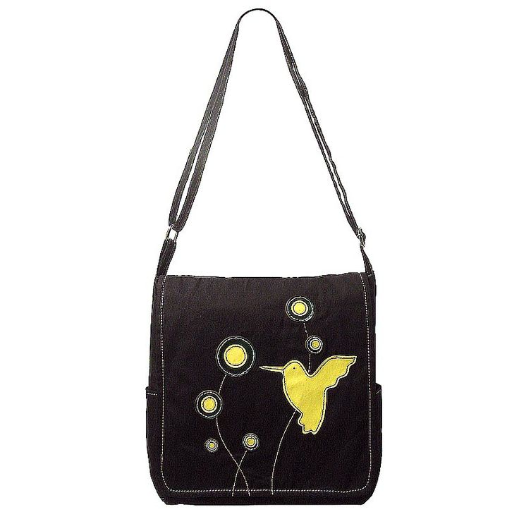 Small cotton canvas satchel bag with hand finished applique design.