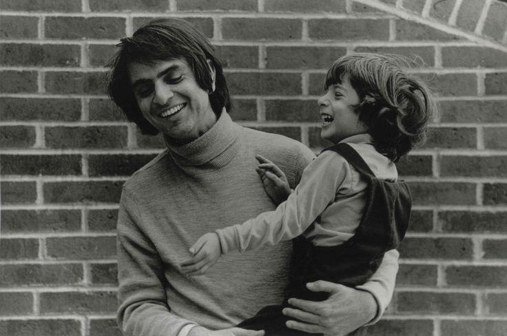 Carl Sagan sharing a laugh with his son Nick Sagan c.1976