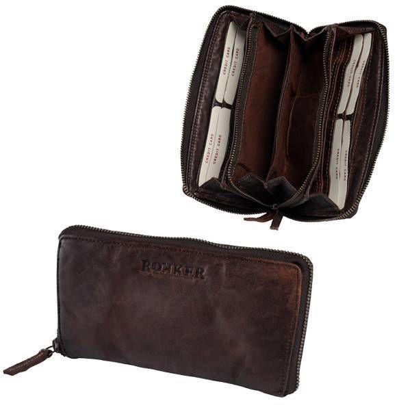 """ROKKER """"Lady Wallet Big"""" - dark brown cowhide with vintage look."""