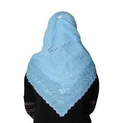 Baby Blue with Floral Embroidery and Clear Stones Hijab / Scarf