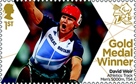 Paralympics Gold Medal Winner stamp - Athletics: Track Men's 5000m, T54, David Weir.