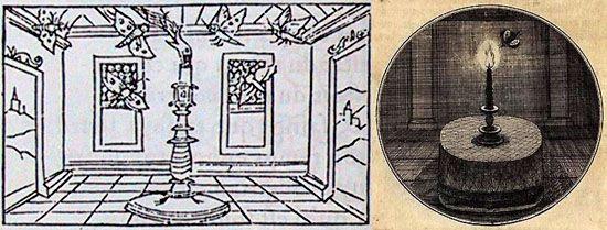 Gilles Corrozet, Hecatongraphie, 1544 y Juan Borja, Emblemata moralia, 1697 emblema con vela y mariposa