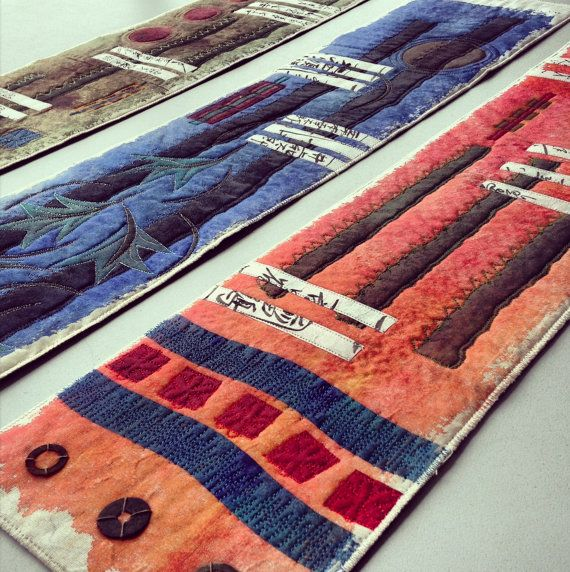 art quilt lost in translation triptych by gonerustic on Etsy