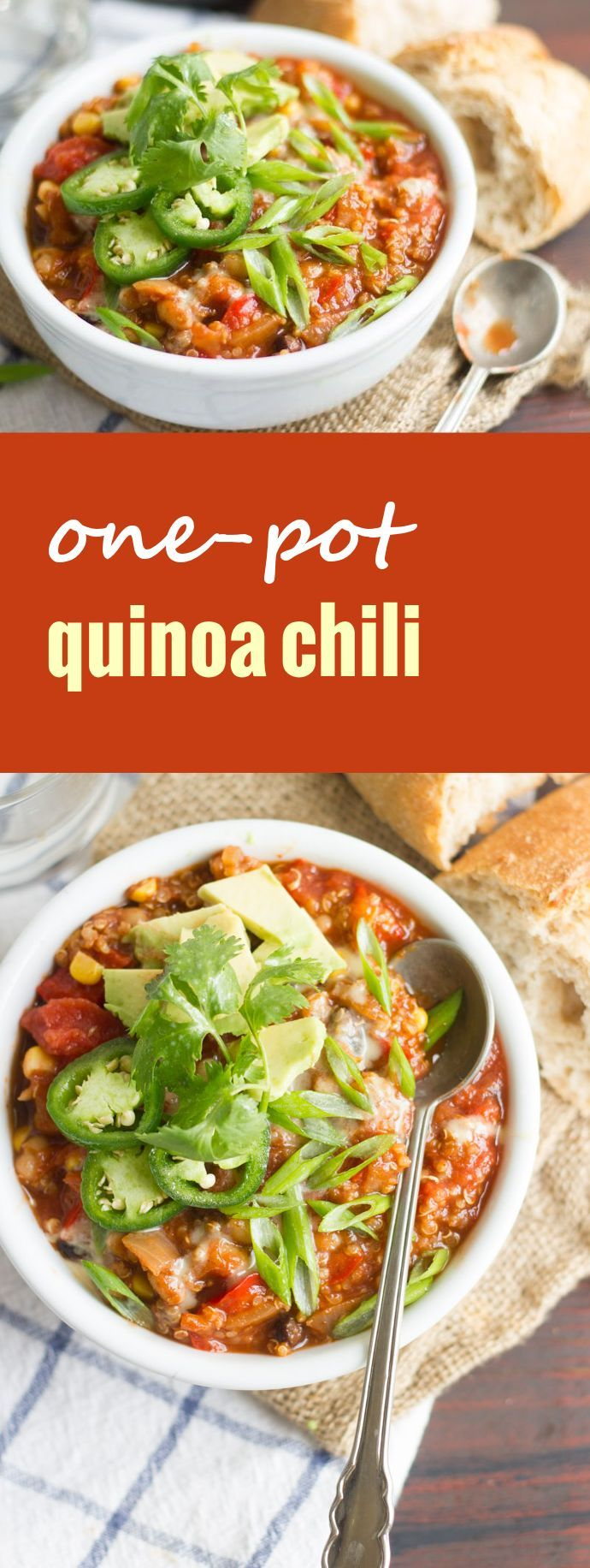 This hearty vegan one-pot quinoa chili features summer corn and beans simmered up in spicy tomato sauce, served up with your favorite chili toppings.