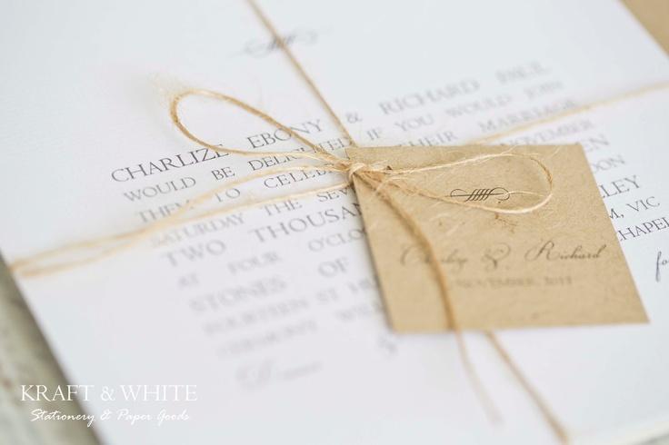 Sample wedding invitation set SUITE 5: White simplistic natural twine organic wedding invitation suite, white rustic wedding stationery set. $9.95, via Etsy.