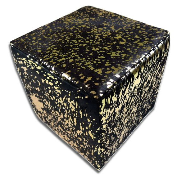 Hair-on Cowhide Cube Ottoman Footstool  Black on by Cowhidesusa