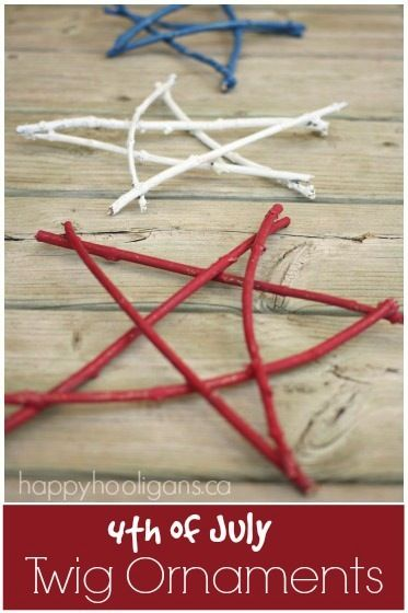 4th of July Twig Ornaments - Happy Hooligans: Stars Ornaments, July Twig, Trees Branches, 4Th Of July, Twig Stars, Happy Hooligans, Twig Ornaments, Ornaments Crafts, Patriots Christmas Ornaments